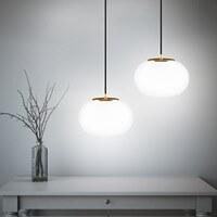 Nowoczesna lampa wisząca Sotto Luce Dosei Elementary 1/S ze szklanym kloszem opalowym