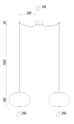 Dimensions Sotto Luce Awa Elementary 1 ceiling lamp