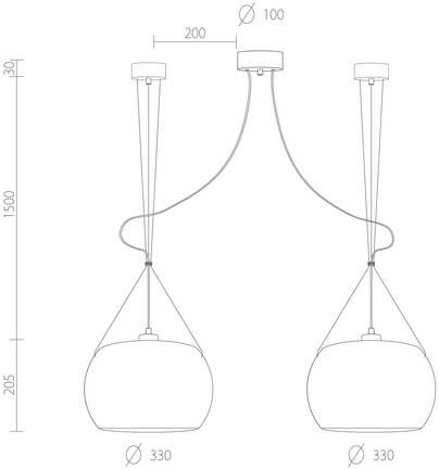 Dimensions of Sotto Luce Momo Elementary 2 pendant lamp