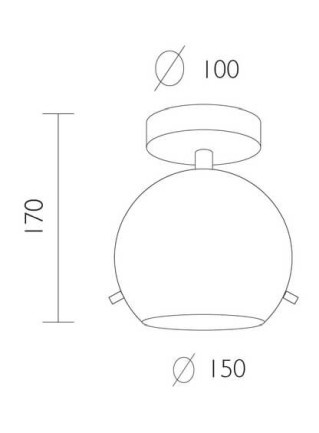 Dimensions of Sotto Luce Myoo Elementary CP 1/C ceiling lamp
