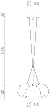 Dimensions of Sotto Luce Myoo Elementary 3B/S ceiling light