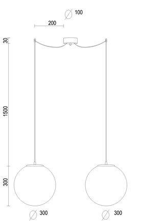 Dimensions of Sotto Luce Tsuki Elementary L 2/S pendant lamp